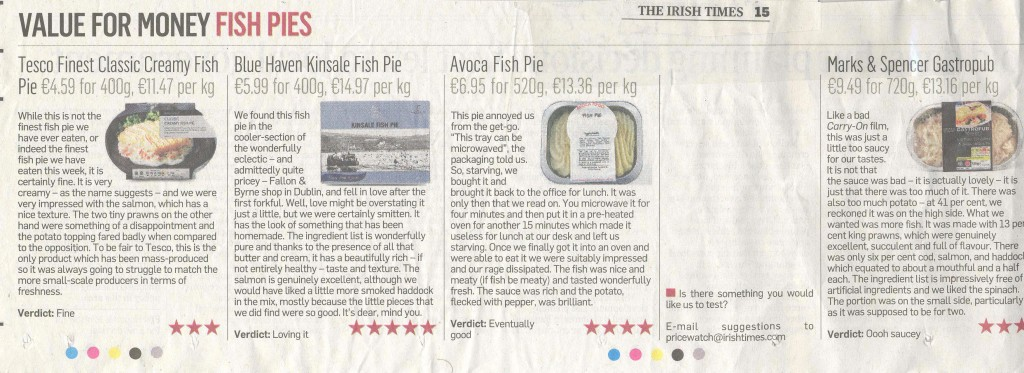 Kinsale Fish Pie Gets 5 Stars