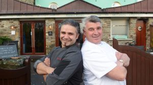 Celebrity Canadian chef Gerardo D'Amore with celebrity Irish chef Martin Shanahan, during filming for a Canadian TV show, called Gourmet Escapes, at Martin's Fishy Fishy Restaurant in Kinsale.