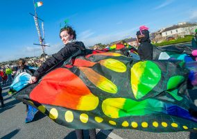REPRO FREE Niamh Downey from kinsale Community School pictured at the 2019 Kinsale St. Patricks Day parade. Picture. John Allen
