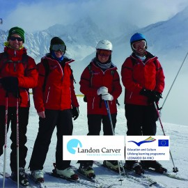 Michelle Gammell, 2nd from left, with CARVE Instructors  in French Alps February 2015