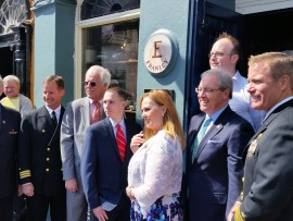 Daniel, Maureen and John Murphy, together with US Ambassador HE Kevin Murphy, Capt. Duncan Smith and Michael Frawley Jr of The White House, Kinsale.