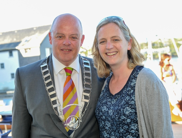 REPRO FREE Pictured at the launch of a 'A Postcard from Kinsale', a new marketing video for Kinsale at the Yacht Club were Kinsale Chamber president Tomas O'Brien and new member Gwen Lanigan-O'Keeffe fromThe Steakhouse. Picture. John Allen