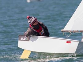Winning tack – Optimist helmsman Micheal O'Suilleabhain of Kinsale Yacht Club won the class Munsters yesterday. Photo: Bob Bateman
