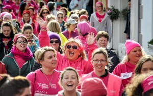 Sharon Crosbie, Kinsale Pink Ribbon Walk Ambassador with friends on 2015 Kinsale Pink Ribbon Walk
