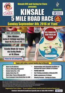 5 Mile Road Race and walk for Ciara