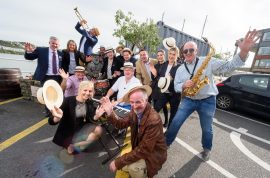 Jazz Musician Billy Crosbie and Una McCarthy, Diageo with vintners, hoteliers and hospitality staff pictured at the launch of the programme for the Guinness Kinsale Jazz Festival 2017. Picture. John Allen