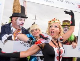 REPRO FREE The 'March Hare' Noel Henderson; 'Alice' Karen Gibson; 'The Queen of Hearts' Natacha Farley and 'The Mad Hatter' Charles Henderson pictured at the Mad HatterÕs Taste of Kinsale this weekend during the 41st Kinsale Gourmet Festival.  Picture. John Allen